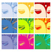 Faces of Buddha — Stock Vector