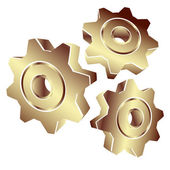 3D gears in gold — Stock Vector