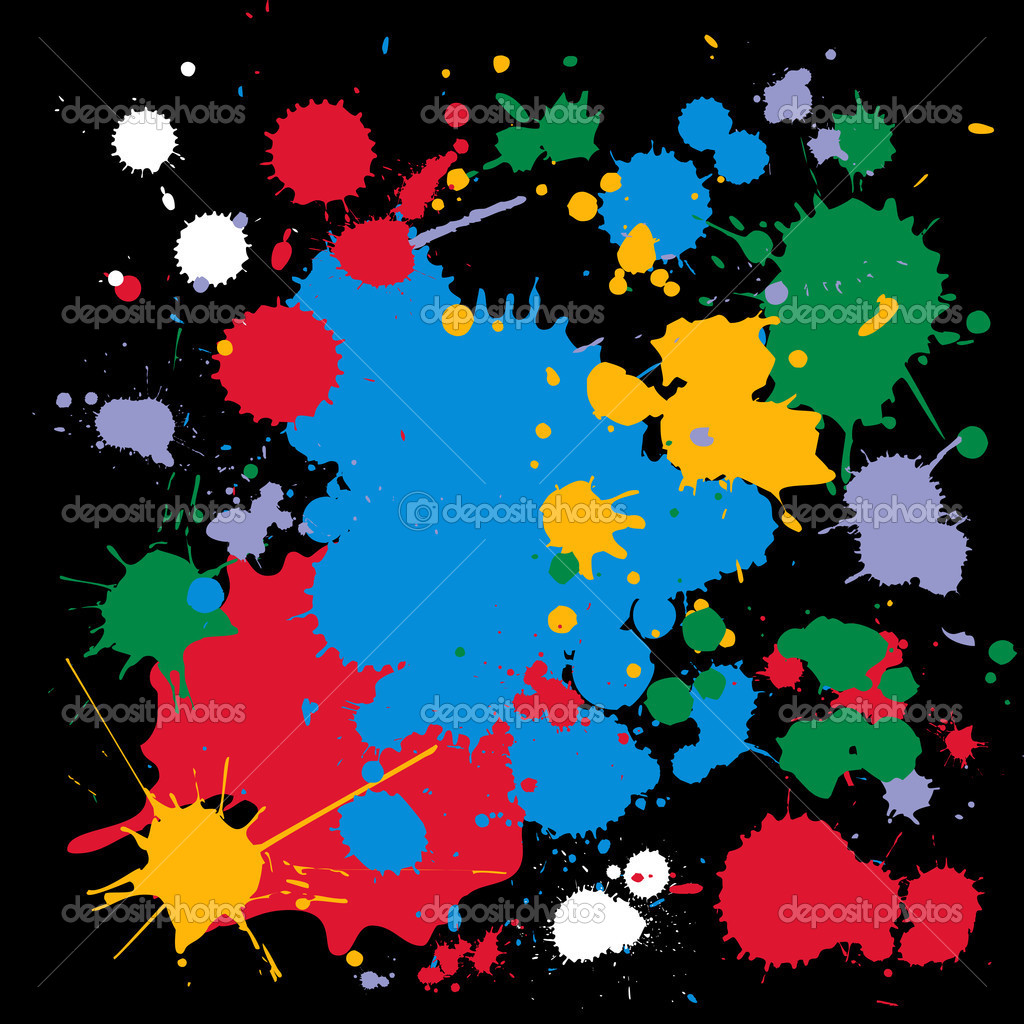 Color ink splat, conceptual-abstract design over black background  — Stock Vector #2958313