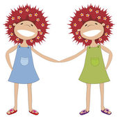 Sisters holding hands — Stock Vector