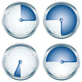 Glossy blue timers collection over white — Stock Vector