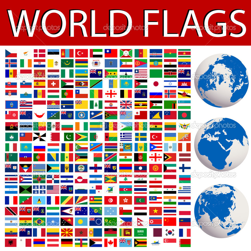 World flags collection and planet Earth — Stock Vector #3035702