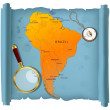 South America map on a roll — Stock Photo