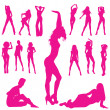 Woman silhouettes - Stock Photo