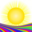 Sun and rainbow - Stock Photo