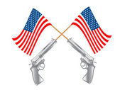 USA FLAG AND GUNS — Stock Photo