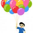 Litlle boy with baloons — Stock Photo