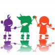 Foto de Stock  : Silhouettes of children