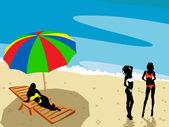 Ladies on the beach — Stock Photo