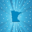 Blue Minnesota map — Stock Photo
