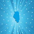 Blue map of Illinois — Stok fotoğraf