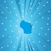 Blue map of Wisconsin — Stock Photo