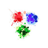 Red, green and blue splats — Stock Photo