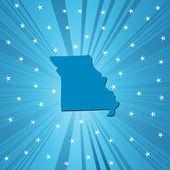 Blue Missouri map — Stock Photo