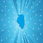 Illinois'ın mavi haritası — Stok fotoğraf