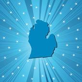 Blue Michigan map — Stock Photo