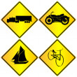 Metalic transport signs set — Stock Photo