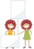 Meninas com banners — Foto Stock