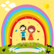 Children and rainbow — Stock Photo