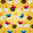 Newborn faces pattern — Stock Photo
