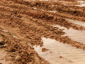 Road dirty spring clay — Stock Photo