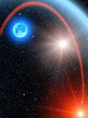 Cometa di sole stelle cielo — Foto Stock