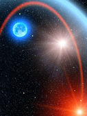 Sky stars sun comet — Stock Photo