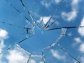 Glass broken window — Stock Photo
