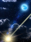 Sky clouds moon meteor — Stock Photo