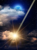 Sky clouds meteor moon — Stock Photo