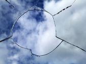 Glass broken window — Stock Photo