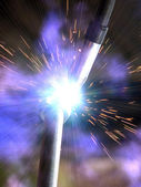 Welding metal smoke sparks — Stock Photo