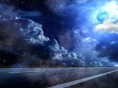Moon sky clouds road fog — Stock Photo