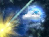 Sky clouds Moon — Stock Photo