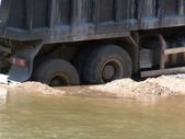 Car cargo river — Stock Photo
