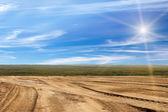 следы транспорта технических песок — Стоковое фото