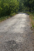 Road old asphalted wood — Stock Photo