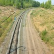 Stock Photo: Railway rails turn