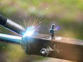Welding metal process — Stock Photo
