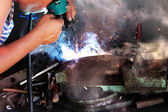Worker welder process repair — Stock Photo