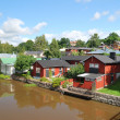 Porvoo, Finland. Wooden houses near the water — Stock Photo