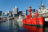 Red Ship in Sydney Harbour, Australia — Stock Photo
