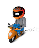 Biker on the scooter — Stock Vector