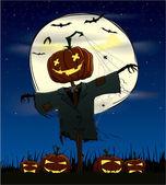 Calabazas espeluznantes en una noche de halloween — Vector de stock