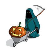Death with the spooky pumpking in a wheelbarrow — Stock Vector