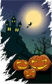 Abóboras assustadoras em uma noite de halloween — Vetor de Stock
