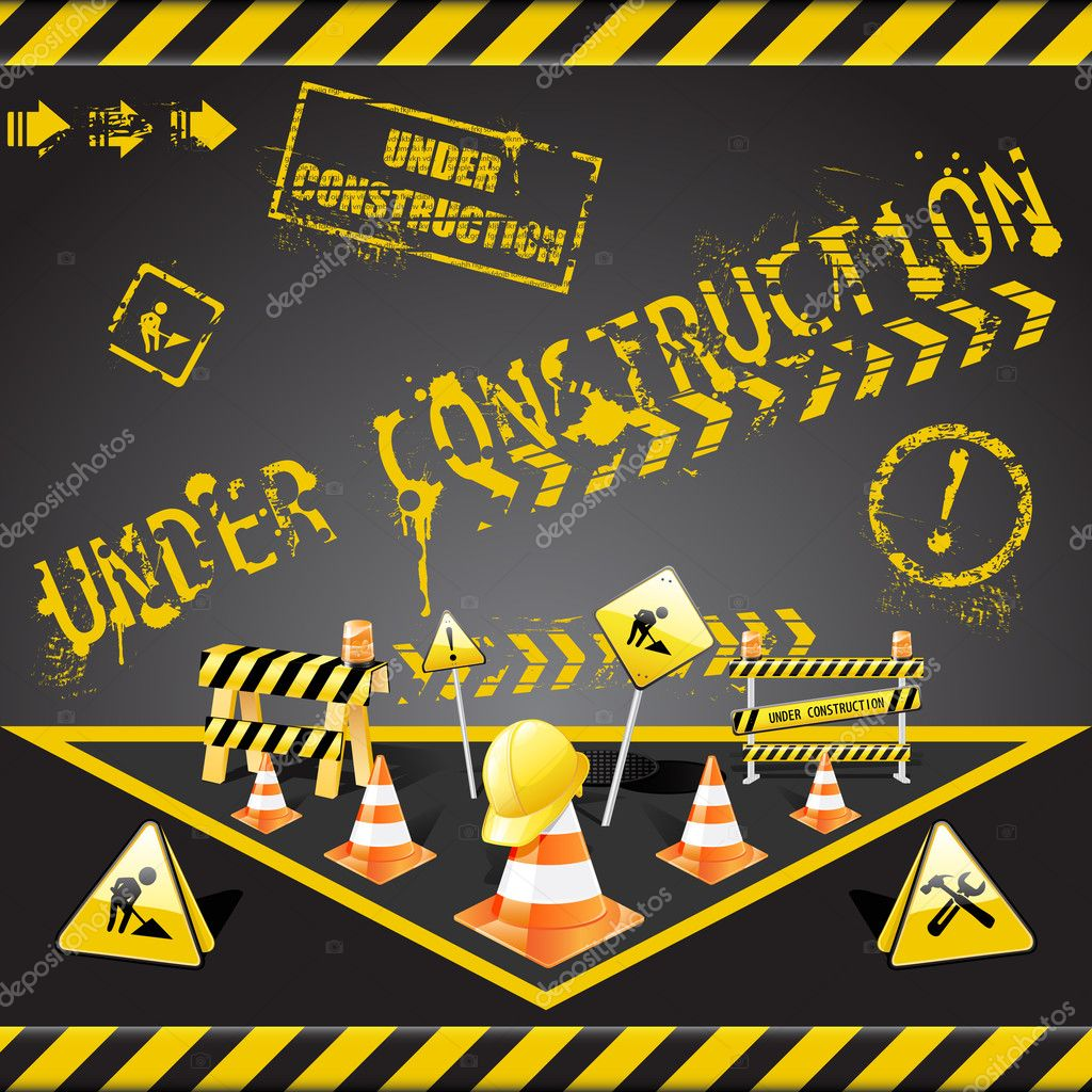 Vector set of  under construction elements with yellow and black stripes  — Stok Vektör #2920603
