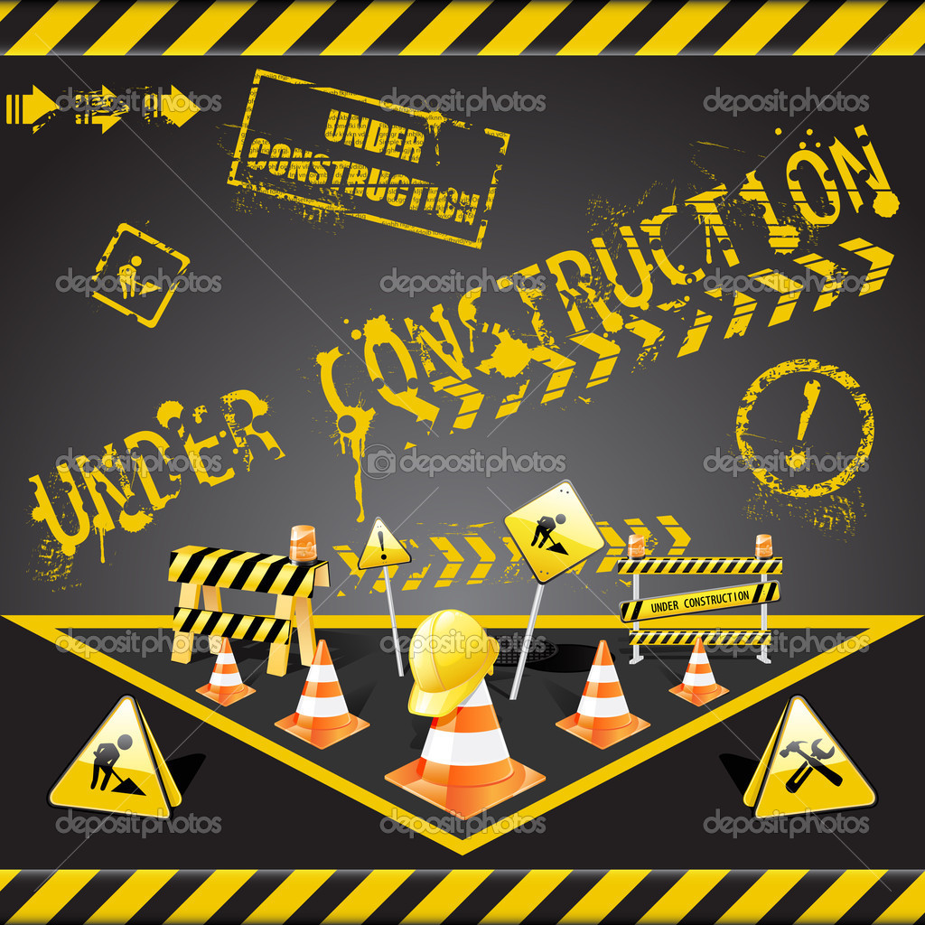 Vector set of  under construction elements with yellow and black stripes   Stock Vector #2920603