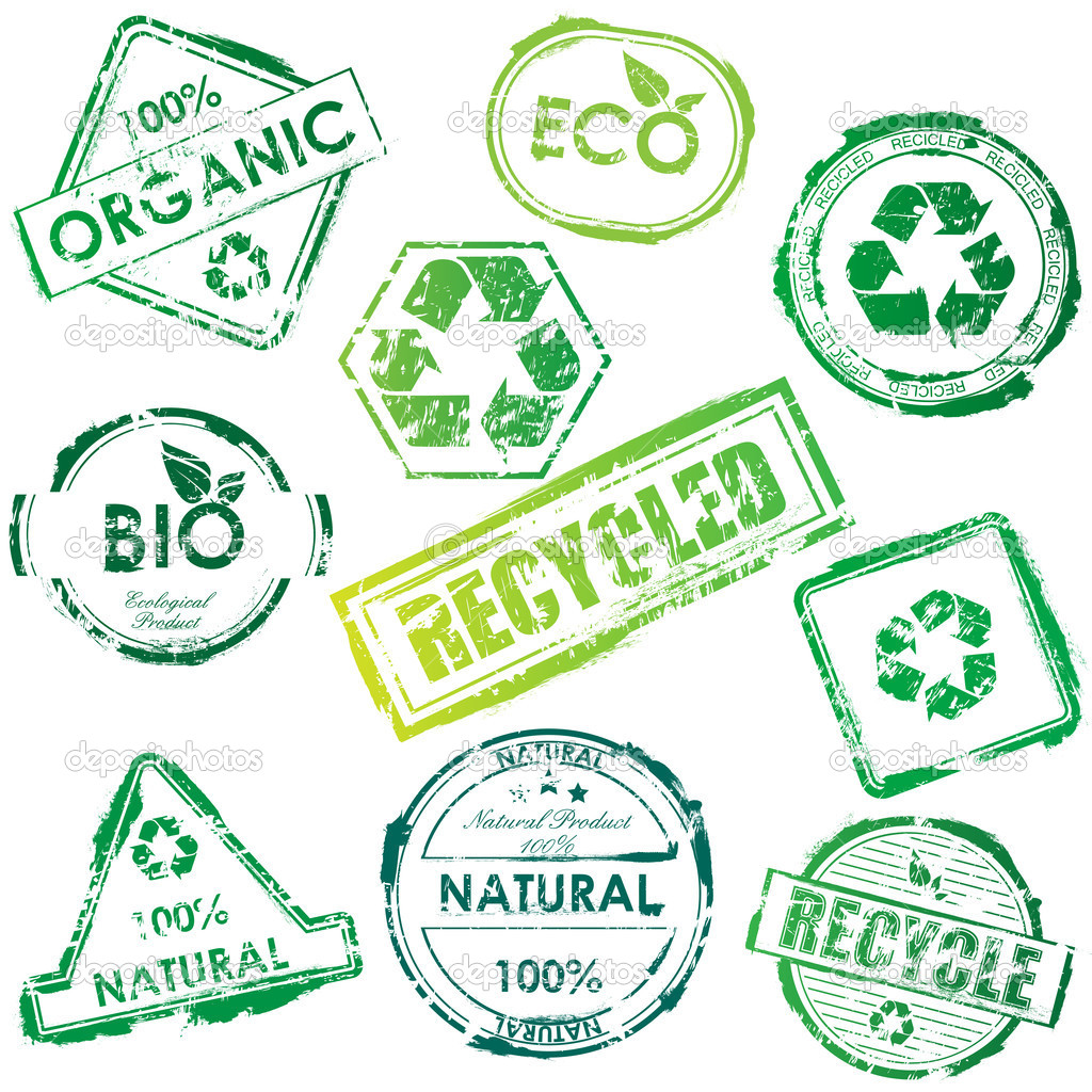 Set of vector green bio and eco stamps  Stock Vector #3085129