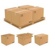 Conjunto de vectores de cajas de cartón — Vector de stock